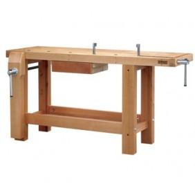 Etabli bois - menuisier - professionnel - 1,5 m - 1 tiroir - 2 presses OUTIFRANCE