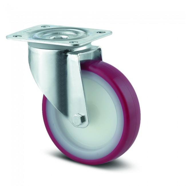 Roulette pivotante polyuréthane rouge - charge standard - Alpha TENTE