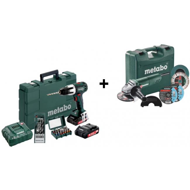 Perceuse à percussion 18V SB 18 LT + meuleuse 125mm 750W + accessoires METABO