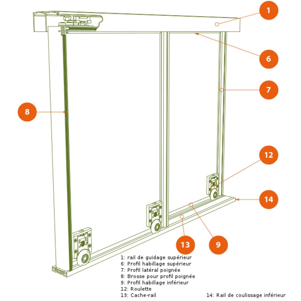 Cache rail bas pour porte coulissante symfo 60 rob bricozor - Cache rail porte coulissante ...