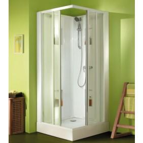 Cabine de douche 90 x 90 cm - accès d'angle par portes coulissantes - Izibox LEDA