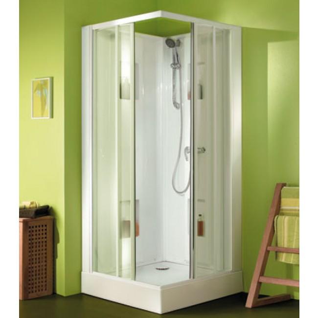 Cabine de douche 80x80 cm - accès d'angle par portes coulissantes - Izibox LEDA