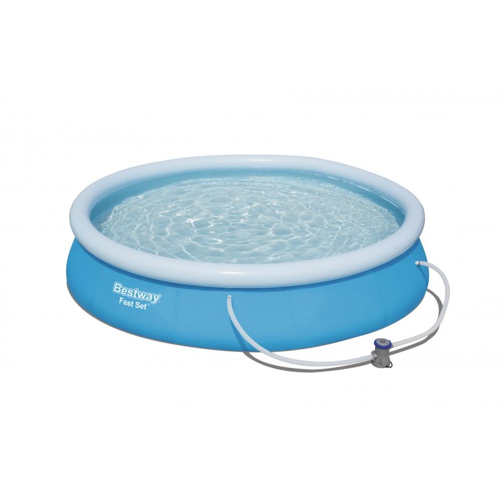 piscine autoport e ronde 366x76cm fast set pools accessoires bestway bricozor. Black Bedroom Furniture Sets. Home Design Ideas
