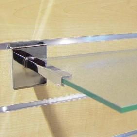 Consoles tablettes verre pour panneau rainuré BOHNACKER