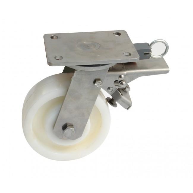 Roulette à platine inox pivotante à blocage directionnel - Mecano AVL