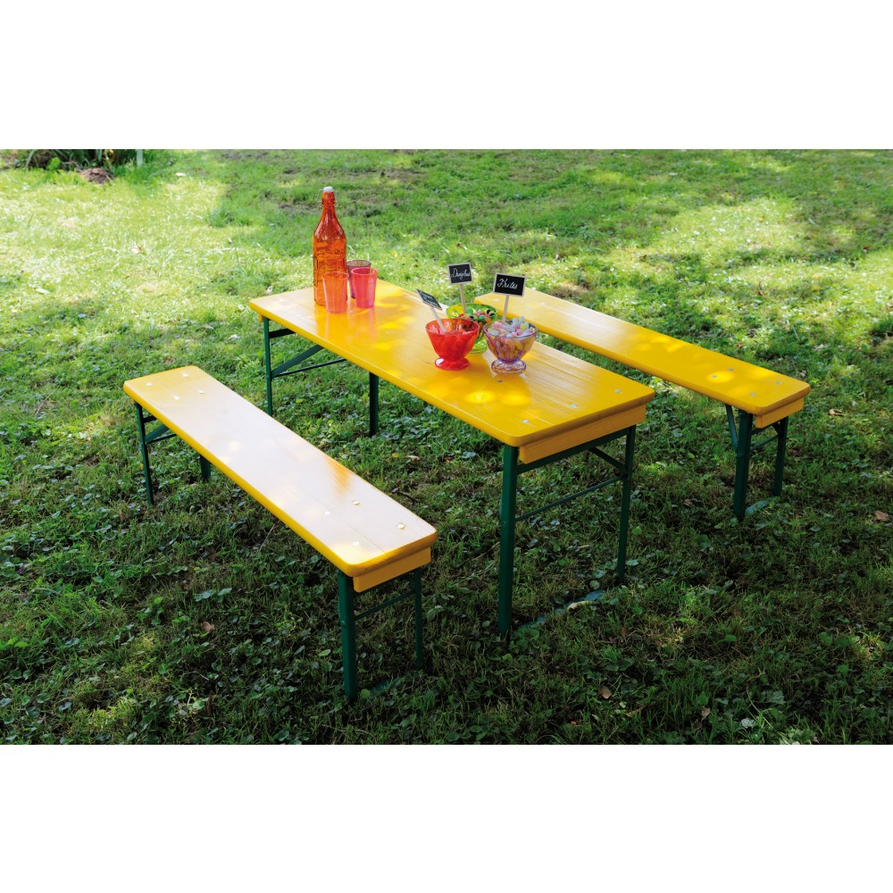 table pique nique enfant longueur 110 cm mini brasseur jaune bricozor. Black Bedroom Furniture Sets. Home Design Ideas