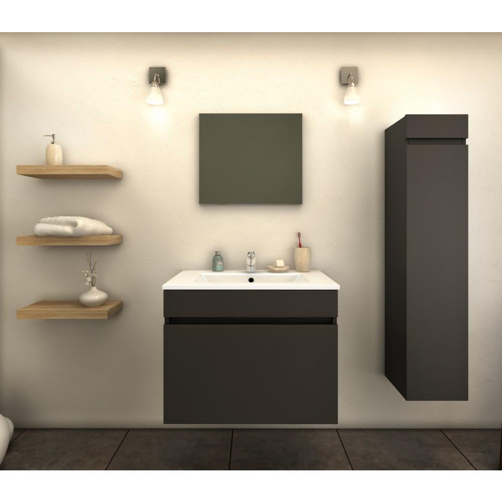 Ensemble Meuble de salle de bain 60cm + colonne-Latina - Gris/Noir ...