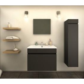 Ensemble Meuble de salle de bain 60cm + colonne-Latina - Gris/Noir Mat BAIN ROOM