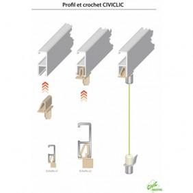 Kit cimaise filaire pour fixation tableaux CIVIC