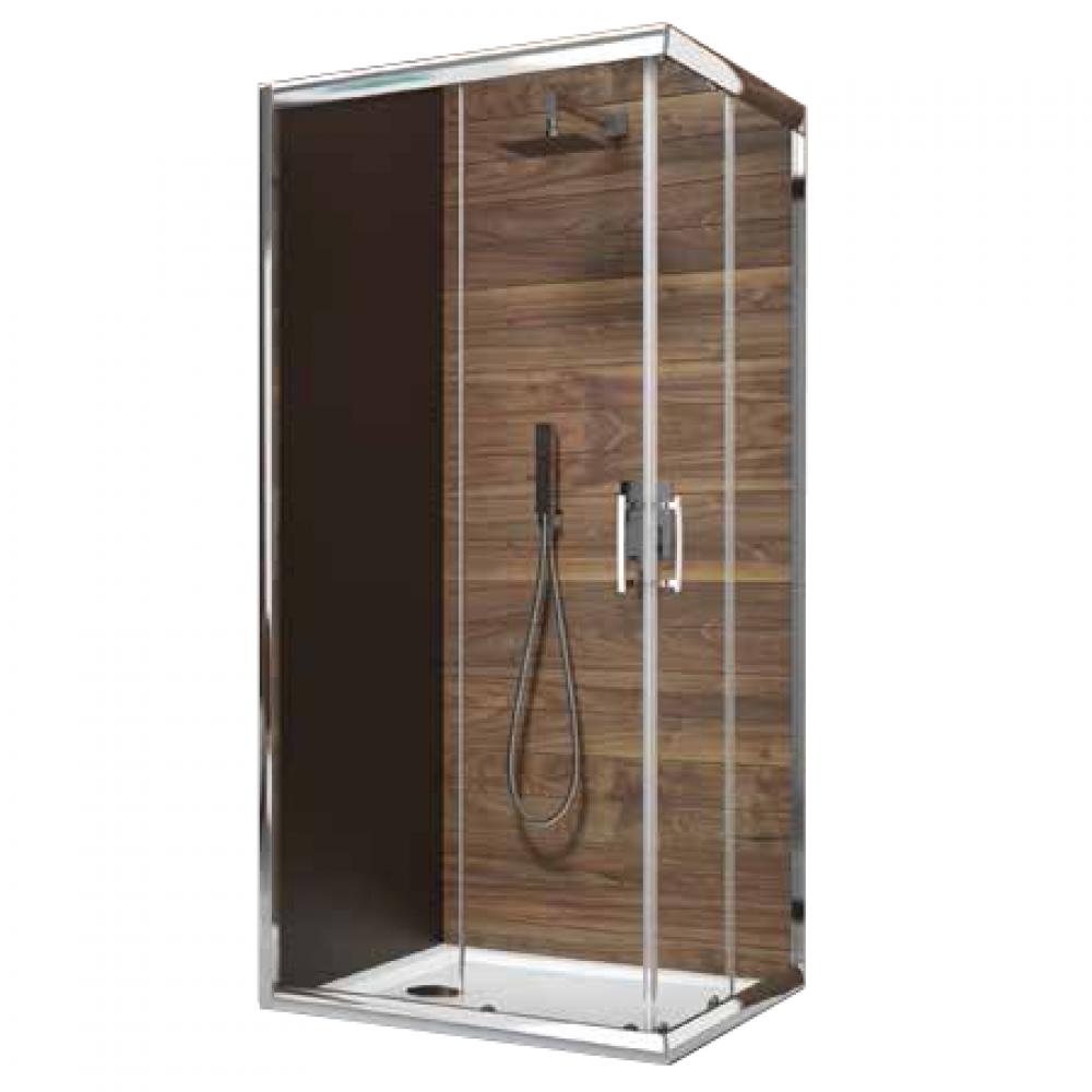 Paroi de douche d 39 angle portes coulissantes verre - Pose porte douche verre ...