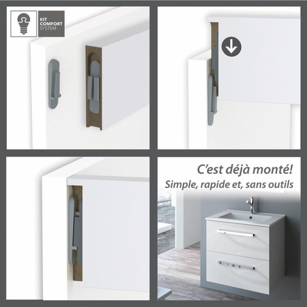 Meuble de salle de bains blanc brillant studio kit for Kit meuble salle de bain