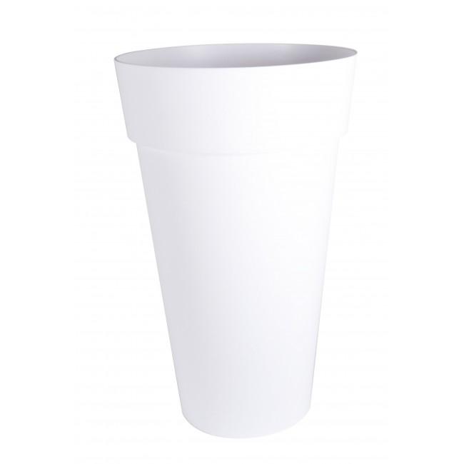 Pot haut rond blanc - diamètre 48 cm -  90 litres - Toscane 13637 EDA PLASTIQUES