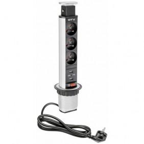 Bloc 3 prises + USB escamotable - pour plan de travail - 60 mm GTV
