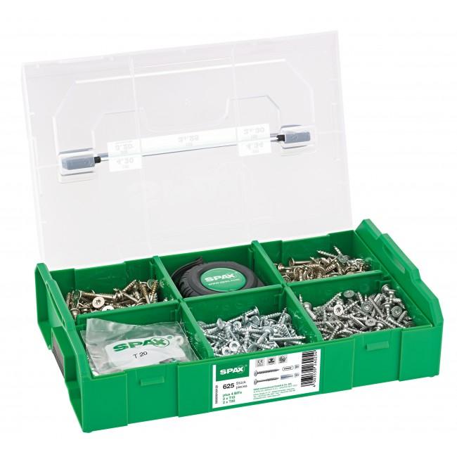 Coffret 1300 vis à bois - tête disque plate - L-BOXX Mini SPAX