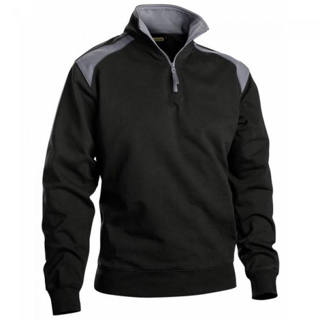 Sweat bicolore - col camionneur à zip - 100 % coton - Coton 3353 BLAKLADER