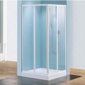 e7bf02696338c5 Paroi de douche d angle verre transparent - Riviera A - 79 à 89 cm