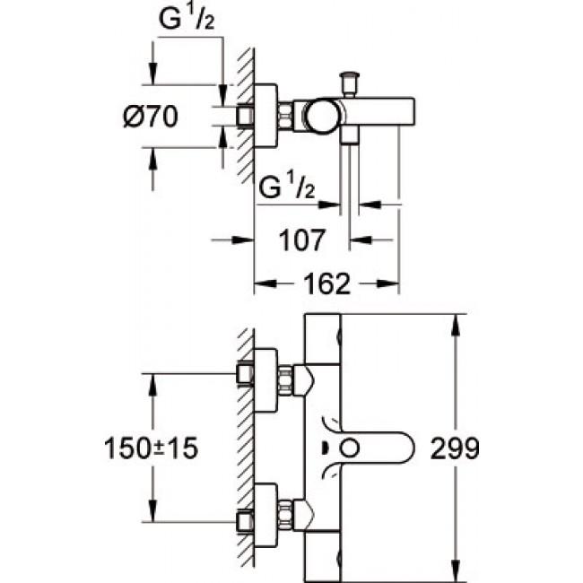 mitigeur baignoire thermostatique grohtherm 1000 cosmopolitan 34441000 grohe bricozor. Black Bedroom Furniture Sets. Home Design Ideas