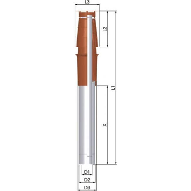 Terminal vertical Econext PPs/Galva pour appareil à condensation TEN