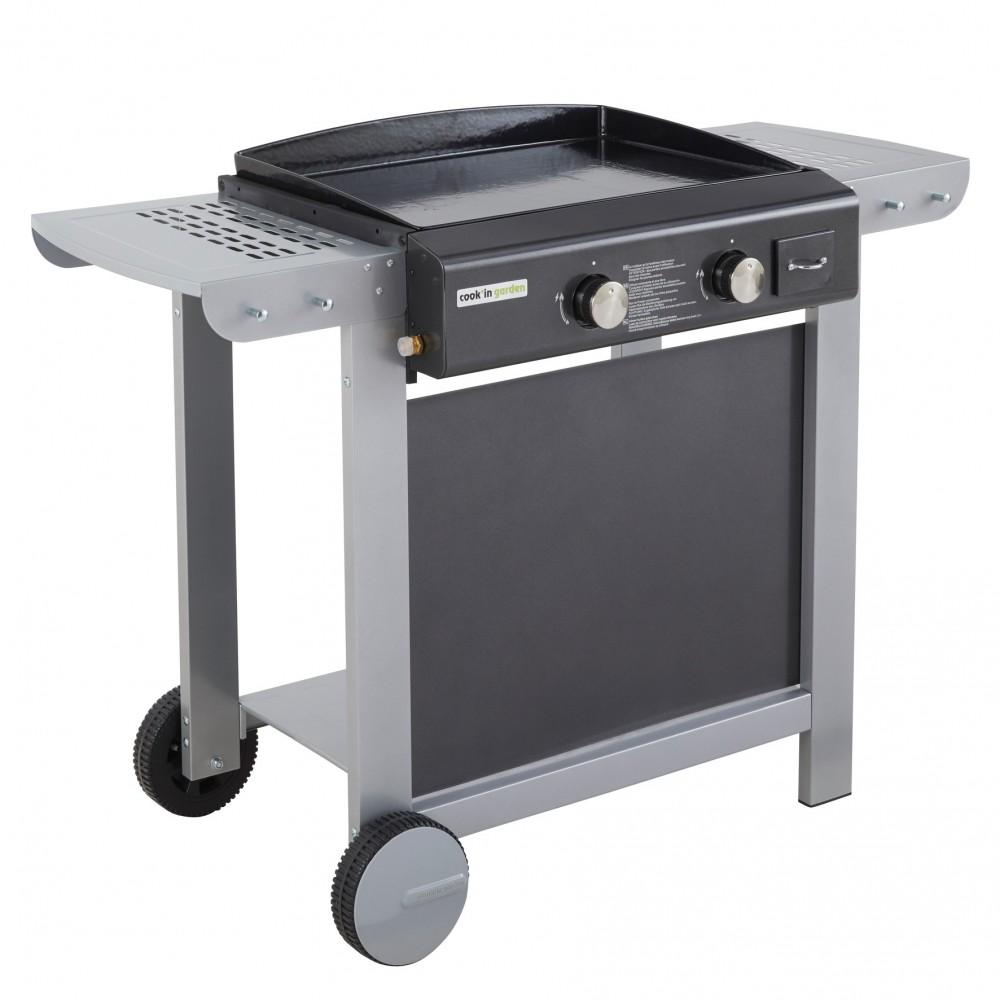 plancha gaz sur chariot 2 feux finesta 63 cook in garden bricozor. Black Bedroom Furniture Sets. Home Design Ideas