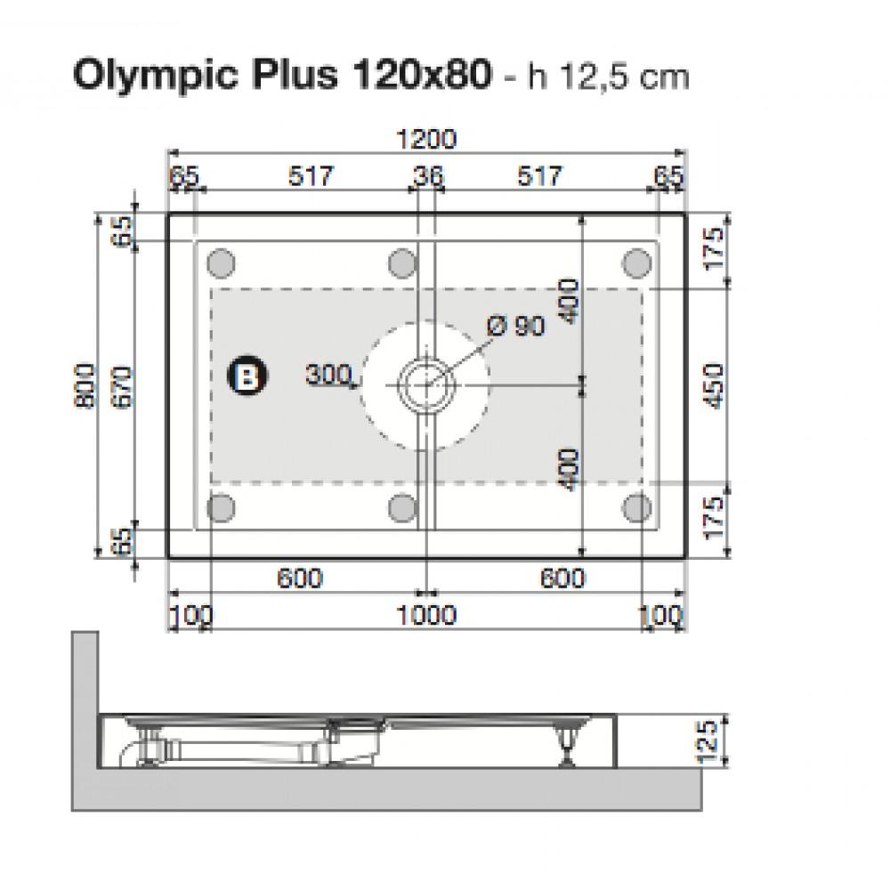 Receveur de douche poser extra plat 120x80 cm olympic - Receveur de douche extra plat 120x80 ...