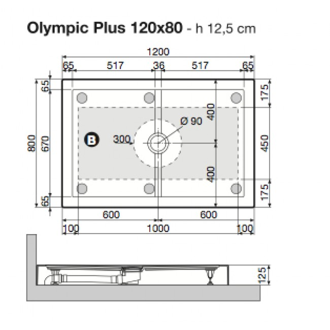 receveur de douche poser extra plat 120x80 cm olympic. Black Bedroom Furniture Sets. Home Design Ideas