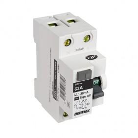 Interrupteur différentiel 2P 30mA - 2 modules DEBFLEX