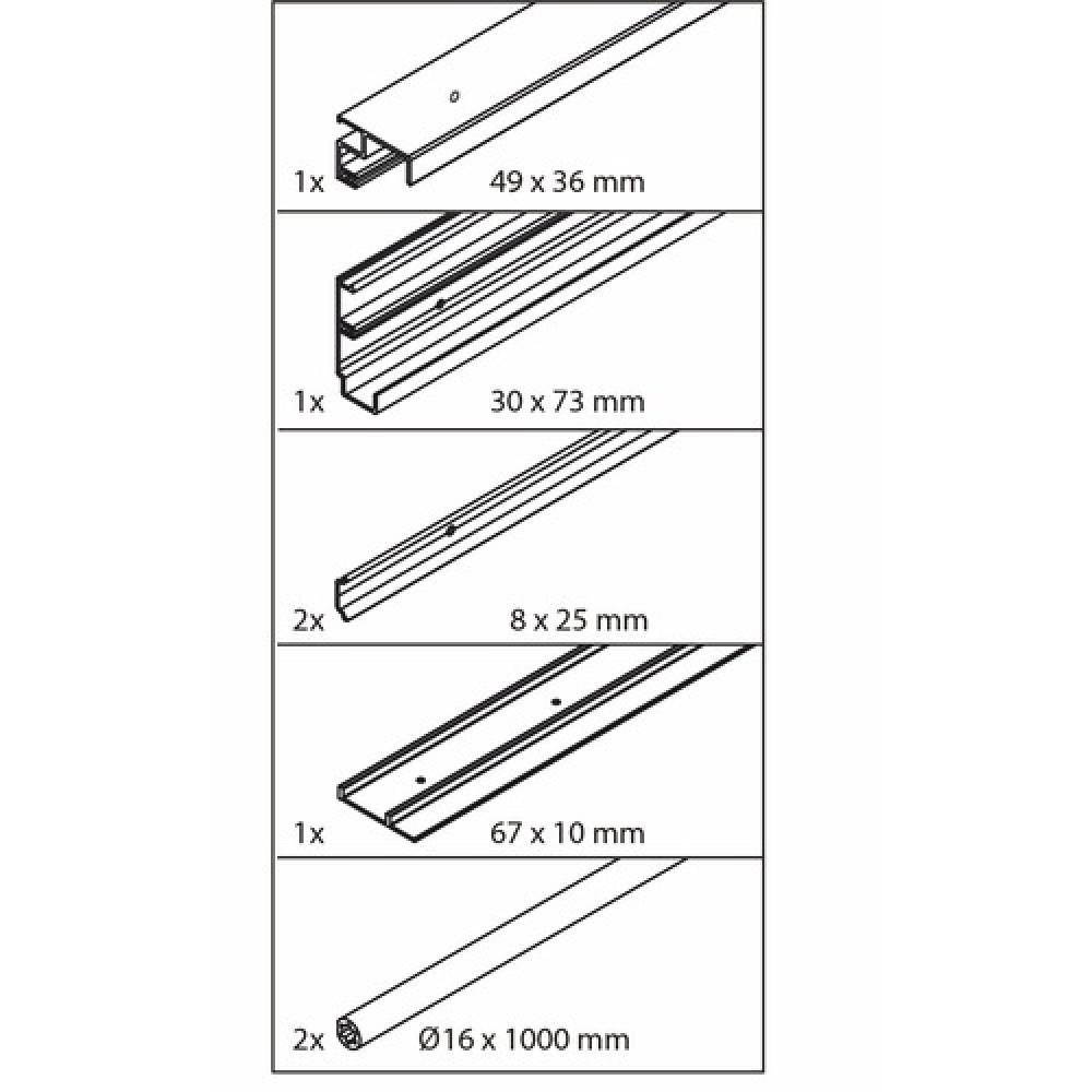 Set de rails pour porte coulissante frontino 20 forslide for Rail pour porte coulissante de meuble