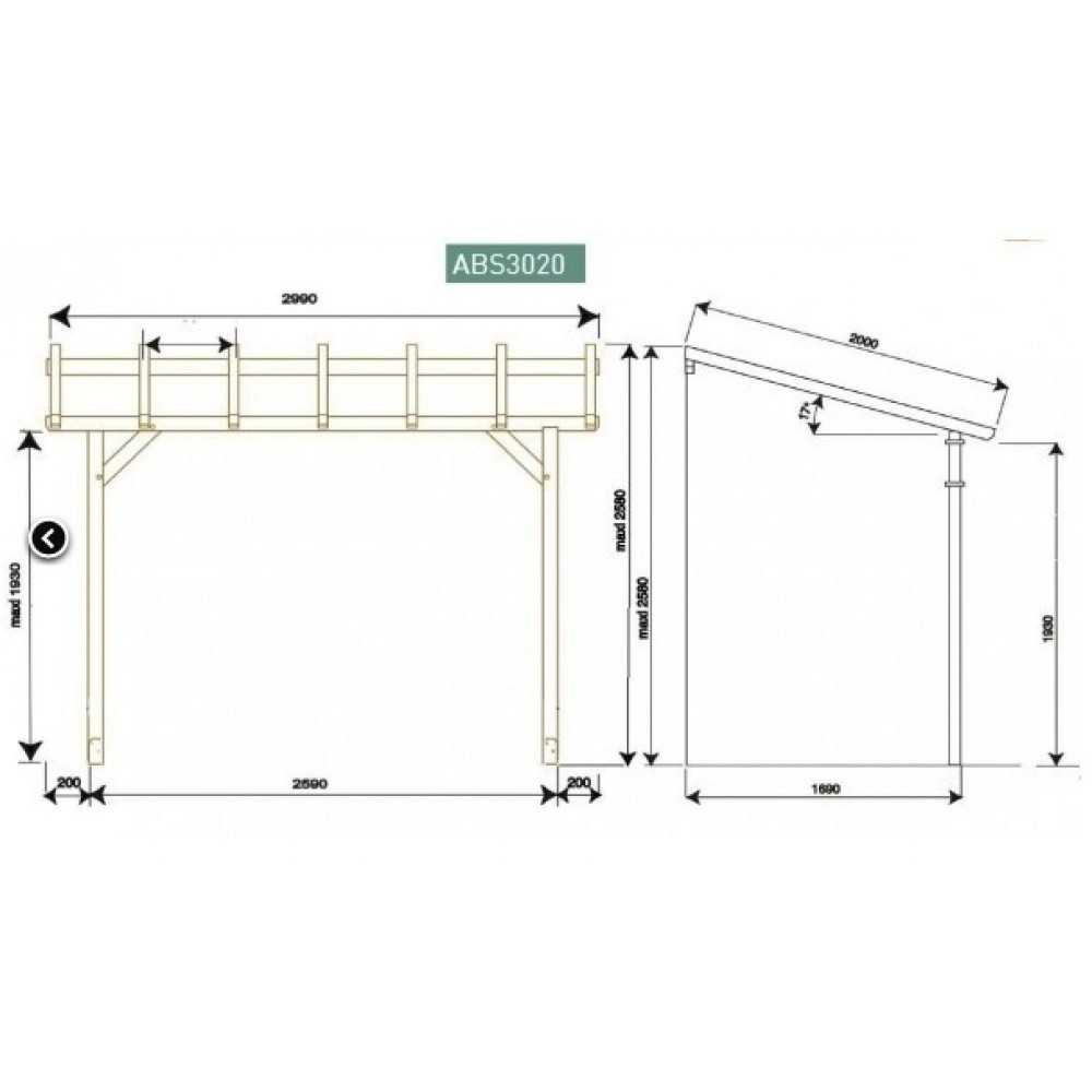 carport en bois adosser protek abs2020 jardipolys bricozor. Black Bedroom Furniture Sets. Home Design Ideas