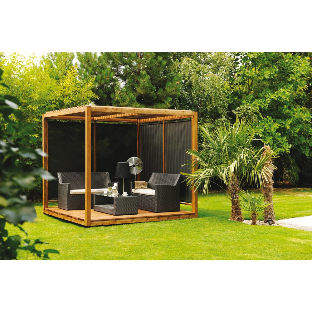 pergola en bois 256 x 256 cm 6 6 m2 cubik bricozor. Black Bedroom Furniture Sets. Home Design Ideas