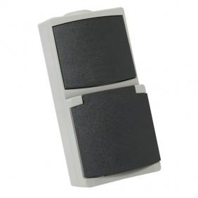 Combiné Prise 2P+T 10/16A + interrupteur étanche IP65 - gris perle DEBFLEX