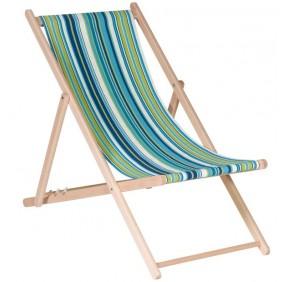 Chilienne en bois inclinable - 4 positions - toile bleu vert