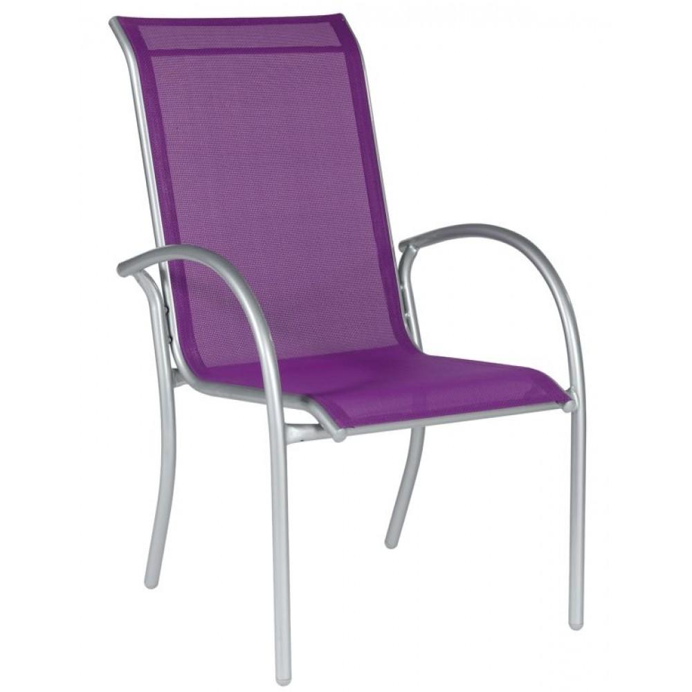 fauteuil de jardin en aluminium et textil ne dahlia prune dreamgarden bricozor. Black Bedroom Furniture Sets. Home Design Ideas