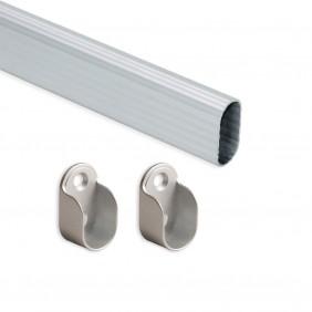 Kit tube de penderie ovale Emuca 30 x15 mm-aluminium EMUCA