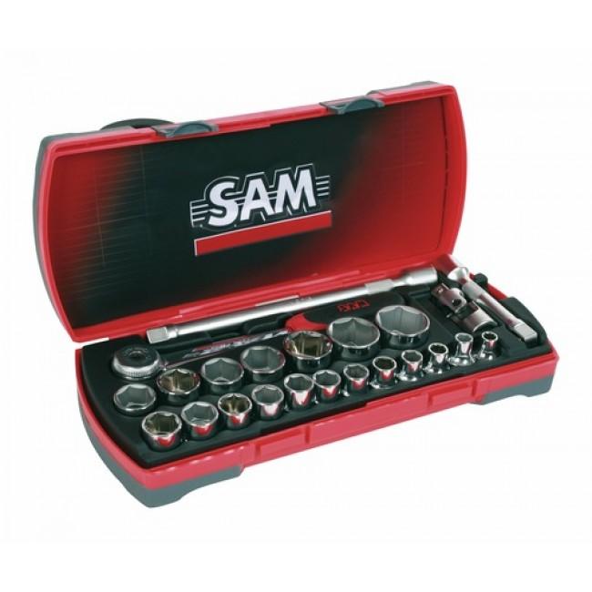 """Coffret douilles standard 1/2"""" + cliquet + accessoires : 23 outils 75SH23Z SAM OUTILLAGE"""