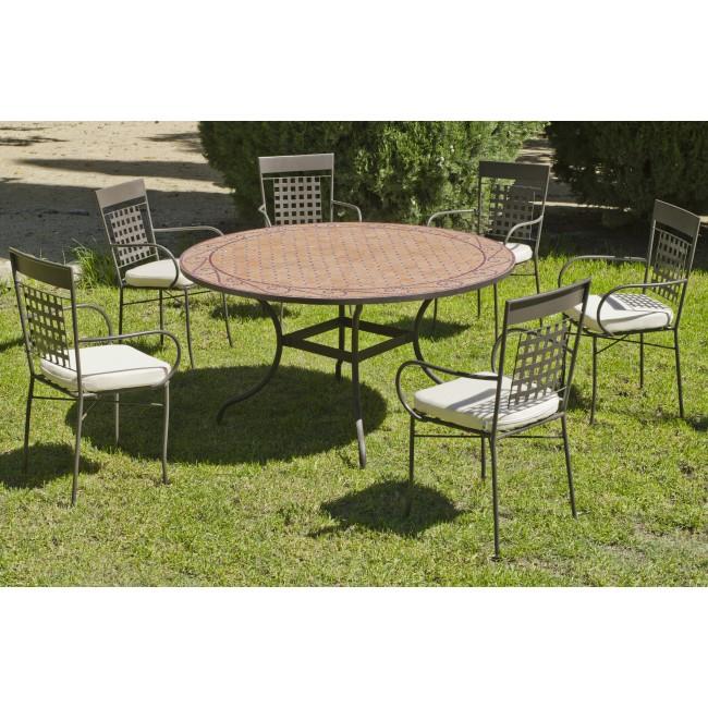 table de jardin belice 1 table 6 fauteuils et coussins. Black Bedroom Furniture Sets. Home Design Ideas