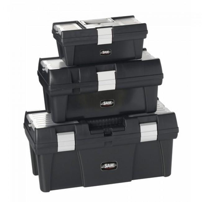 Lot de 3 caisses à outils pvc avec plateau amovible SAM OUTILLAGE