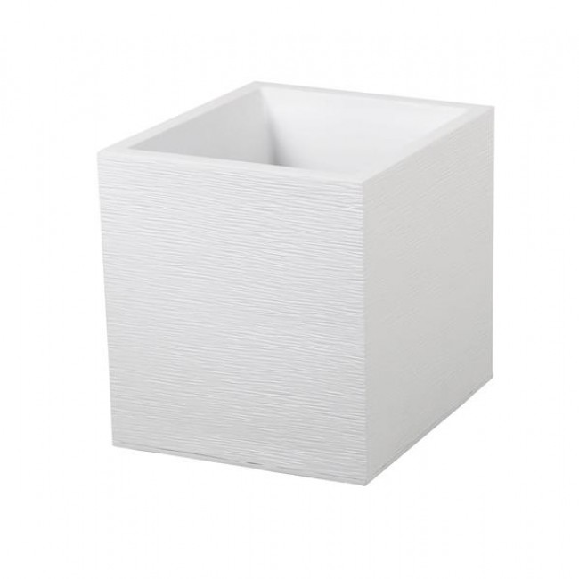 Pot carré - hauteur 43 cm - contenance 31 litres - Graphit blanc cérusé EDA PLASTIQUES