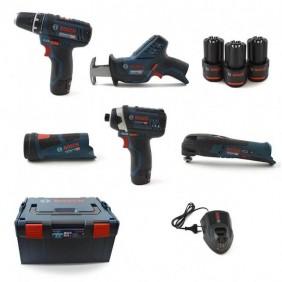 Kit 5 outils 12 V + 3 batteries 2 Ah Lithium-ion 0615990K11 BOSCH