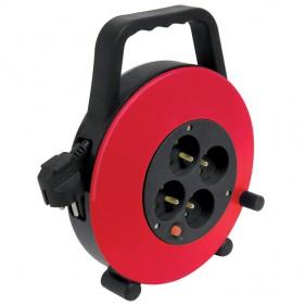 Enrouleur 10m + 4p - HO5VVF 3G1.5 - noir/rouge DEBFLEX
