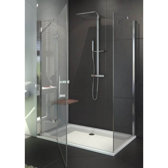 Paroi de douche fermée pivotante + paroi fixe à 90° et en ligne - profilé argent brillant Django LEDA