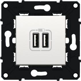 Prise chargeur - double USB - Série Espace Evolution - blanc ARNOULD