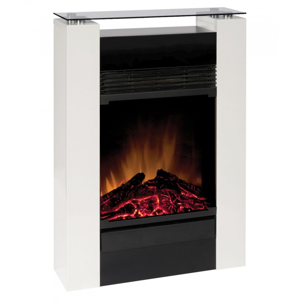 Chemin e d corative et lectrique 750w 1500w manteau blanc gisella glen dimplex bricozor - Cheminee decorative electrique ...