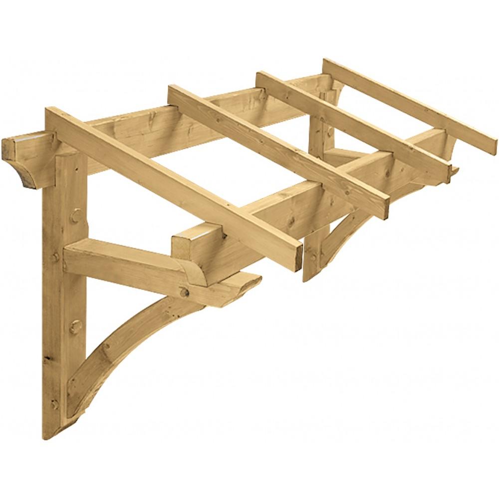 marquise en bois pour porte d 39 entr e 1 3 m borgia jardipolys bricozor. Black Bedroom Furniture Sets. Home Design Ideas