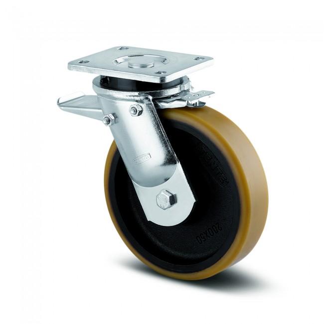 Roulette pivotante - à blocage - platine - charges lourdes - Kappa TENTE