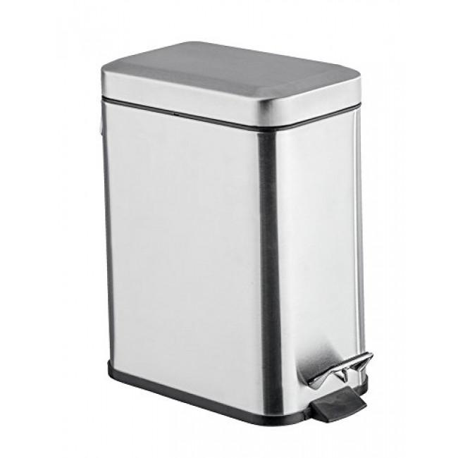 Poubelle à pédale pour salle de bain - carrée en acier inox 5 litres WENKO