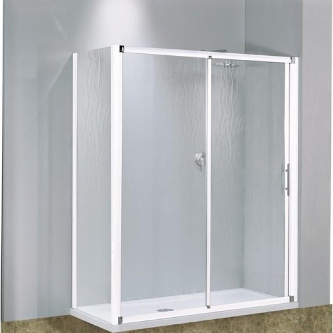 Porte coulissante 2 panneaux verre transparent Lunes - 114 à 120 cm