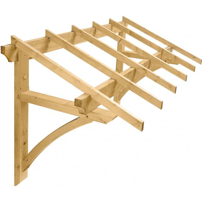 Marquise en bois pour porte d'entrée - 2,46 m² - Medicis JARDIPOLYS