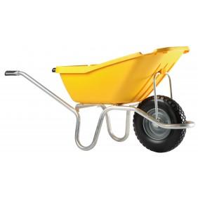 Brouette 1 roue increvable 110 L caisse polypro jaune Plume HAEMMERLIN