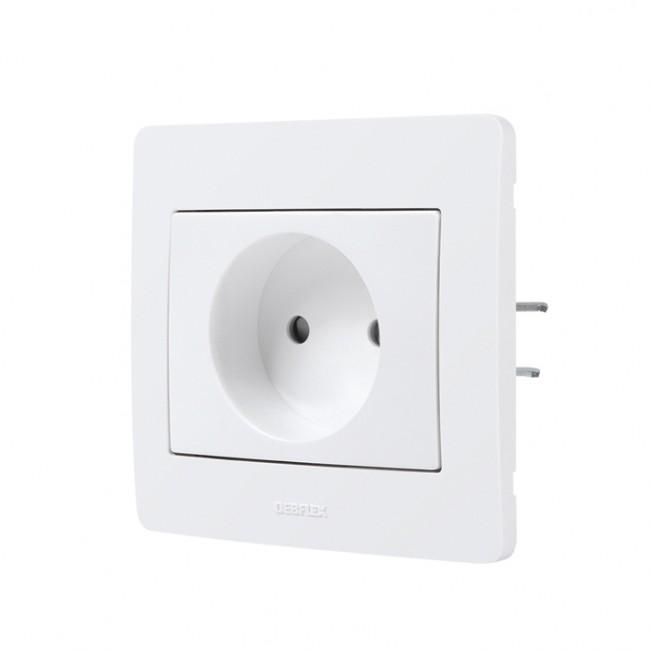 Prise 2P encastrée complète - blanc - Diam2 DEBFLEX