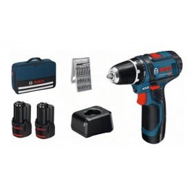 Perceuse visseuse sans fil GSR 12V-15 - 2x2Ah + coffret 25 accessoires BOSCH